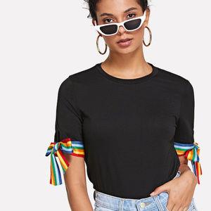 Tops - Black Tee with Rainbow Ribbon Sleeve Ties NWOT